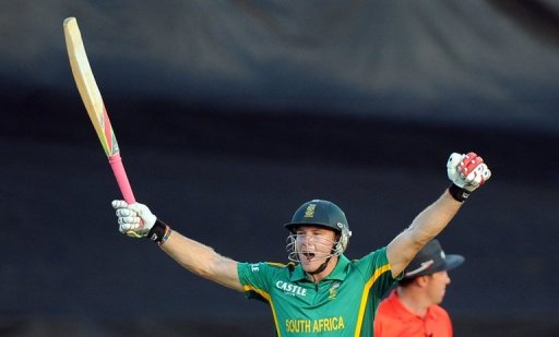 David Miller celebrates victory over Pakistan on March 24, 2013