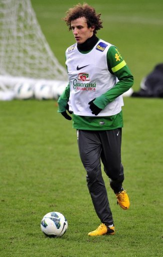 Brazil defender David Luiz is pictured during a team training session in London on March 24, 2013
