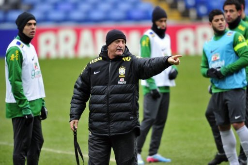 Brazil manager Luiz Felipe Scolari is pictured during their team training session at Stamford Bridge on March 24, 2013