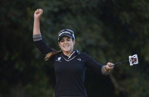 Beatriz Recari celebrates after capturing the Kia Classic for her second career LPGA Tour victory on March 24, 2013.