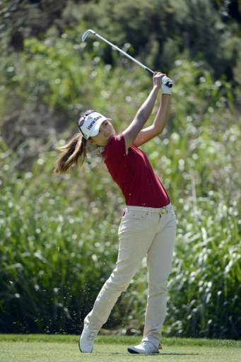 South Korea's Kim In-kyung tees off during the final round of the Kia Classic on March 24, 2013
