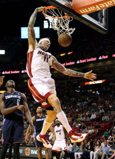 Miami Heat forward Chris Anderson dunks during their NBA game against the Charlotte Bobcats on March 24, 2013
