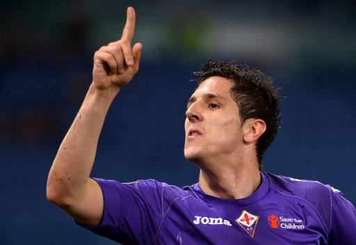 Stevan Jovetic celebrates after scoring for Fiorentina against Lazio in Rome, on March 10, 2013
