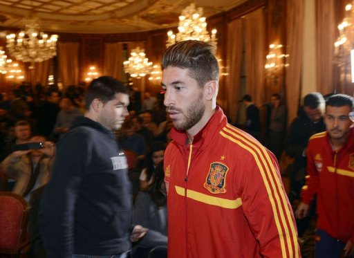Spain defender Sergio Ramos arrives to give a press conference at the team's hotel in Paris, on March 25, 2013