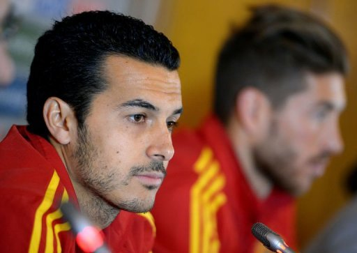 Spain forward Pedro gives a press conference in Paris, on March 25, 2013