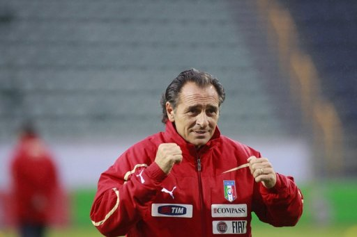 Italy coach Cesare Prandelli supervises a training session in Torshavn, on September 1, 2011