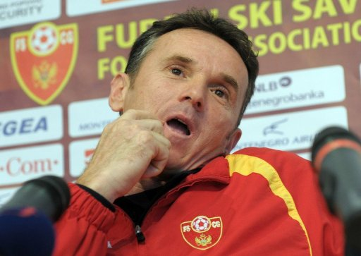 Branko Brnovic gestures during a press conference in Podgorica on November 14, 2011