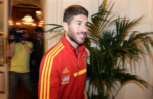 Spain's defender Sergio Ramos leaves a press conference at the team's hotel in Paris, on March 25, 2013