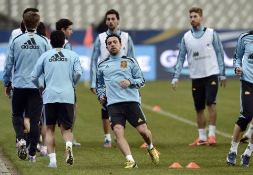 Spain train on March 25, 2013, the eve of their World Cup qualifier away at France
