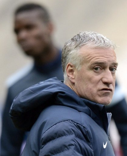 Didier Deschamps takes a training session on March 25, 2013, the eve of the World Cup qualifier against Spain