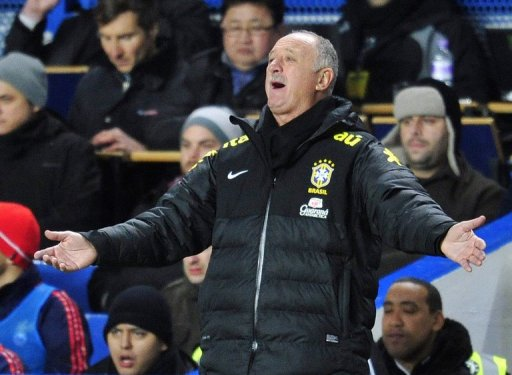 Luiz Felipe Scolari gestures from the touchline during the friendly against Russia on March 25, 2013