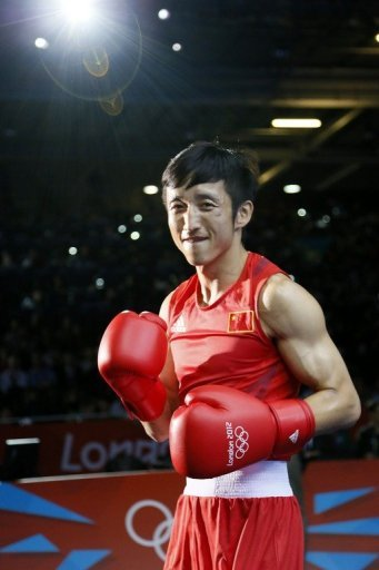 Zou Shiming is pictured ahead of his London Olympics light flyweight final against Kaeo Pongprayoon on August 11, 2012