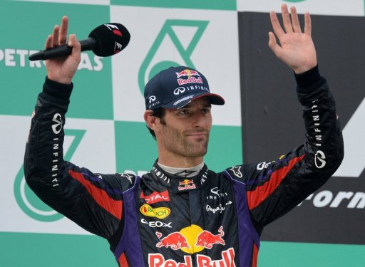 Mark Webber on the podium after finishing second at the Malaysia Grand Prix in Sepang on March 24, 2013