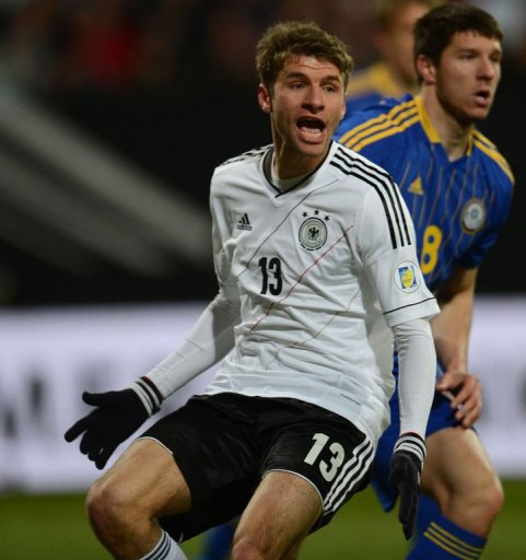 German midfielder Thomas Mueller reacts in Nuremberg, on March 26, 2013. Germany won 4-1