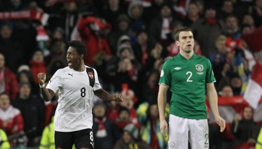 David Alaba celebrates his late equaliser against Ireland on March 26, 2013