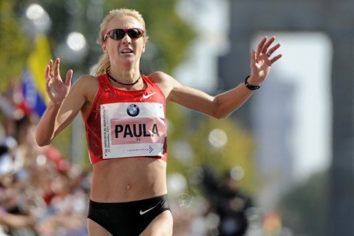 Britain's Paula Radcliffe crosses the finish line during the Berlin Marathon, on September 25, 2011