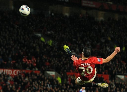 Manchester United forward Robin van Persie goes for the spectacular, at Old Trafford, on March 16, 2013