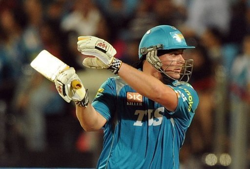 Jesse Ryder plays a shot during the IPL, in Pune, on May 19, 2012