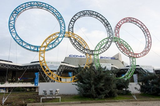 The Olympic Rings displayed outside  Sochi/Adler International Airport on February 18, 2013