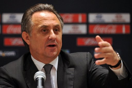 Russian Sports Minister Vitaly Mutko gives a news conference in Moscow on September 30, 2012