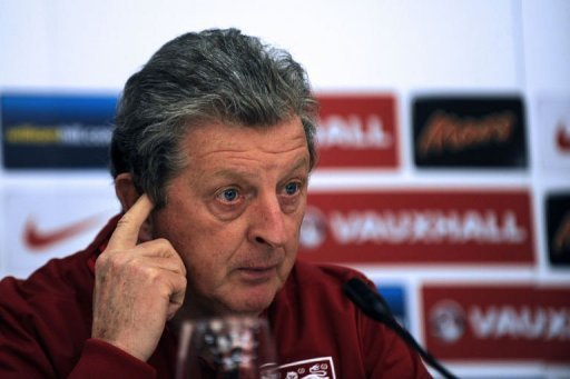 England manager Roy Hodgson attends an England team press conference in Podgorica on March 25, 2013