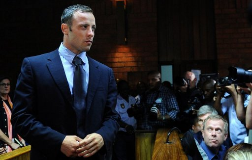 South African Olympic sprinter Oscar Pistorius appears at the Magistrate Court in Pretoria on February 22, 2013