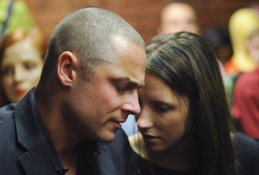 South African Olympic sprinter Oscar Pistorius's brother Carl and sister Aimee in court, Pretoria, February 22, 2013