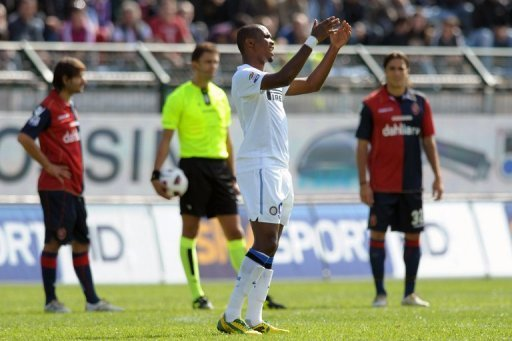 Inter Milan's then forward Samuel Eto' (C) shows his anger as Cagliari supporters shout racist chants, October 17, 2010