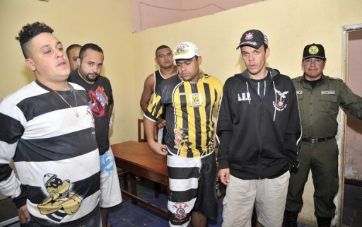 A group of arrested Corinthians fans pictured at San Pedro jail in Oruro, 240 km from La Paz, Bolivia on March 15, 2013