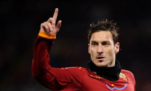 Francesco Totti reacts in Rome's Olympic Stadium on January 22, 2011