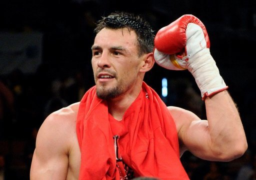 Robert Guerrero celebrates at the Mandalay Bay Events Center on July 31, 2010 in Las Vegas, Nevada