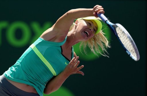 Maria Sharapova serves on March 28, 2013, in Key Biscayne