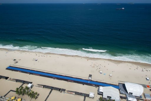 Blue straight lanes are installed on Copacabana Beach in Rio de Janerio, Brazil, on March 28, 2013