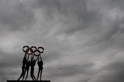A sculpture, seen outside the headquarters of the IOC in Lausanne, on November 11, 2012