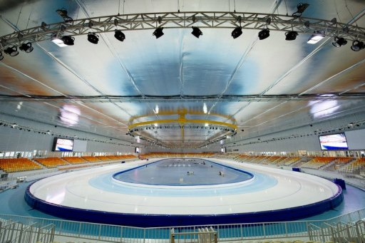 The speed-skating venue at the Olympic Park in Adler, Russia on February 21, 2013