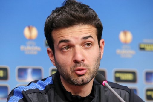 Andrea Stramaccioni, coach of Inter Milan addresses a press conference in Cluj, northern Romania on February 20, 2013