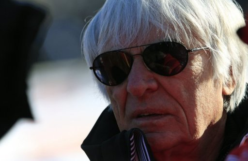 Formula One chief Bernie Ecclestone at the World Cup men's downhill race on January 26, 2013 in Austria