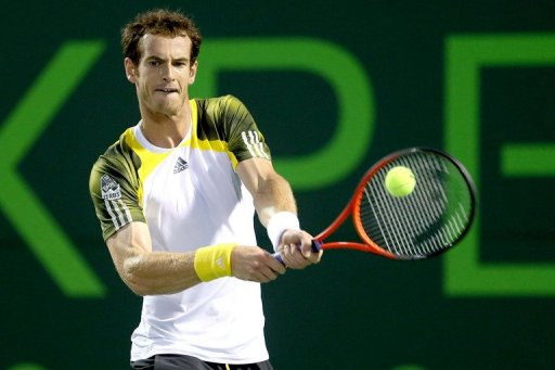 Andy Murray returns a shot to Richard Gasquet in the semi-finals of the Miami Masters on March 29, 2013
