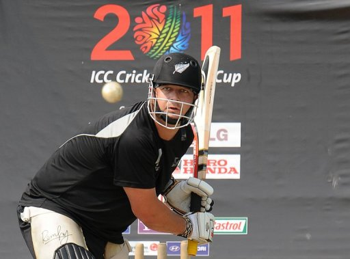 New Zealand batsman Jesse Ryder plays a shot during a training session in Colombo on March 29, 2011