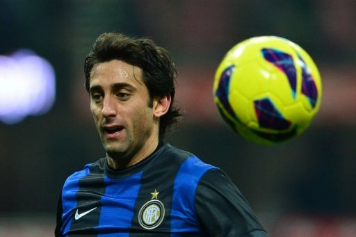 Inter Milan forward Diego Milito in action against Chievo at the San Siro on February 10, 2013