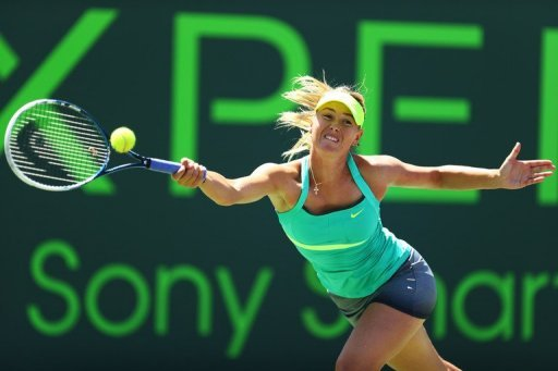Maria Sharapova returns a shot to Serena Williams at the Miami Masters on March 30, 2013