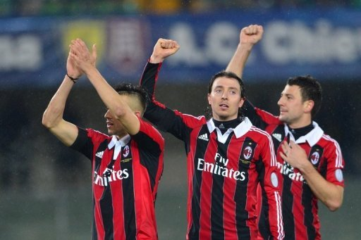 AC Milan's defender Daniele Bonera, midfielder Riccardo Montolivo and forward Stephan El Shaarawy on March 30, 2013