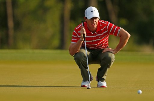 Rory McIlroy of Northern Ireland lines up his birdie putt at the Shell Houston Open on March 30, 2013, in Humble, Texas