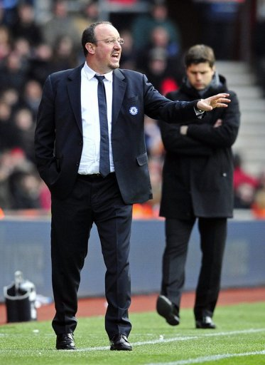 Chelsea's interim manager Rafael Benitez during the match at Southampton on March 30, 2013