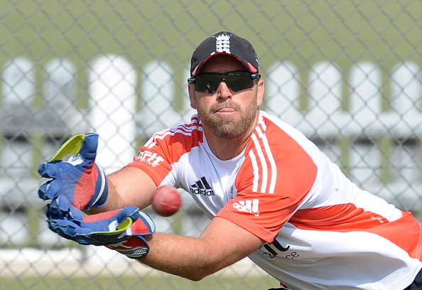England's cricketer Matt Prior catches a
