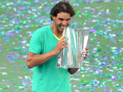 Rafael Nadal defeated Juan Martin del Potro 4-6, 6-3, 6-4 to win his third Indian Wells title and cement his return from a seven-month injury layoff.