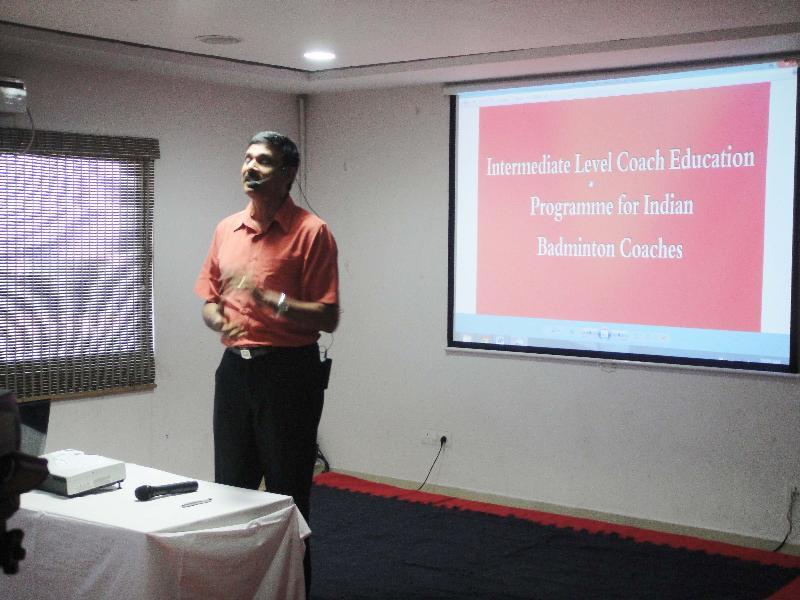 BWF Technical Expert Venugopal Mahalingam addressing the coaches