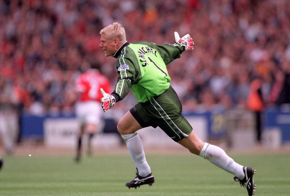 22nd MAY 1999. F.A.Cup Final. Wembley. Manchester United 2 v Newcastle United 0. Manchester United's Peter Schmeichel celebrates after Teddy Sheringham's early goal.