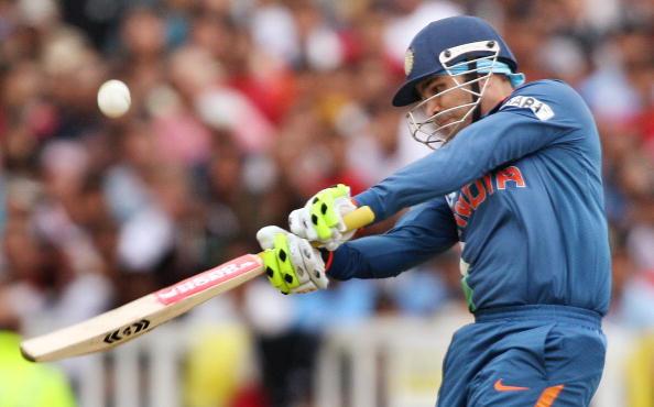 Indian batsman Virender Sehwag lofts a b