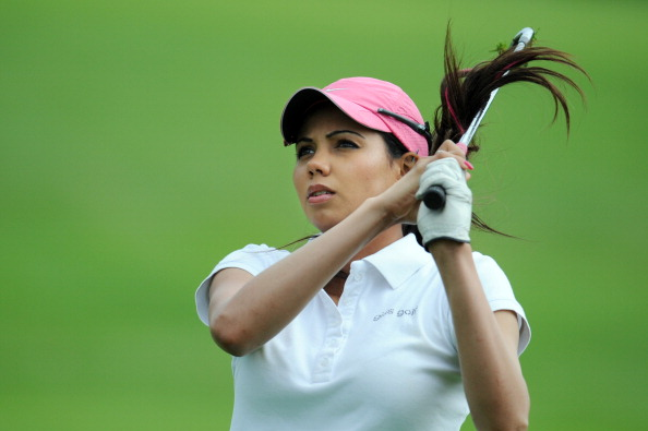 Indian golfer Sharmila Nicollet hits a d